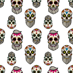 Seamless pattern with mexican sugar skulls. Design element for poster, card, flyer, banner. Vector illustration