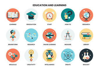 education icons set for business