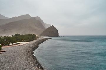 """Pebble beach of """"Playa de la Aldea"""" in the west of Gran Canaria Island"""