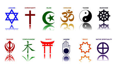 world religion symbols colored signs of major religious groups and religions. easy to modify