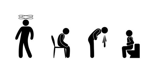 symptoms of disease, isolated icons, stick figure human silhouette, pictogram people nausea, diarrhea, dizziness