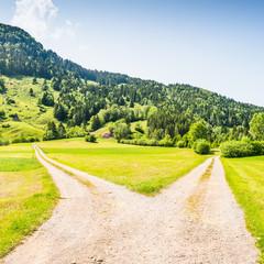 Crossroads of two roads.