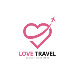 Love travel logo vector icon template design