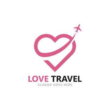 Love travel logo vector icon template design