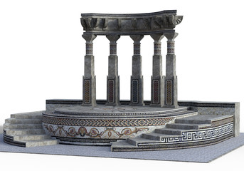 3D rendered Fantasy Greek Temple on White Background - 3D Illustration Fototapete