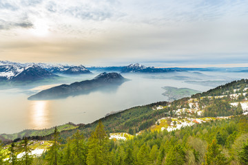 Top of the mountains view of the Swiss Alps Mountains and Lake Lucerne.