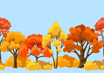 Autumn seamless pattern with stylized trees. Wall mural