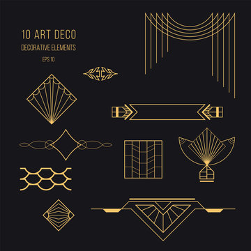 Set of Art deco elements. Trendy vintage design elements. Retro style. Isolated vector eps 10.