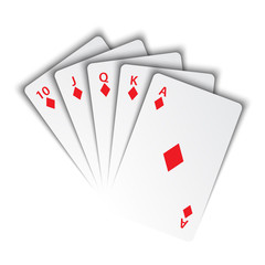 A royal flush of diamonds on white background, winning hands of poker cards, casino playing cards, vector poker symbols
