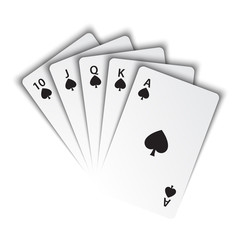 A royal flush of spades on white background, winning hands of poker cards, casino playing cards, vector poker symbols