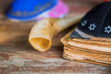 Yom Kippur, Rosh Hashanah Hashana jewish New Year, Shemini Atzeret Shmini Atzeret and Simchat Torah holiday shofar horn with religious holy prayer book