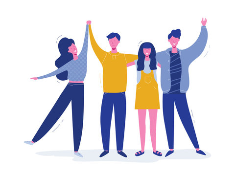 Group of smiling teenage boys and girls, school friends, happy students standing together, waving hands. Friendship day greeting card with hugging people character. Flat cartoon vector illustration.