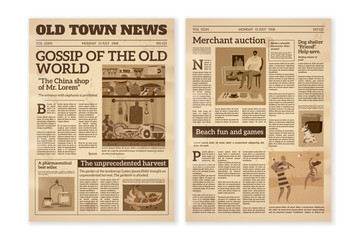 Retro newspaper. Daily news articles yellow newsprint old magazine. Media newspaper pages. Vintage paper journal vector background
