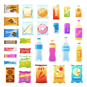 Vending products. Beverages and snack plastic package, fast food snack packs, biscuit sandwich. Drinks water juice flat vector icons