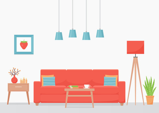Living room interior. Vector. Room with coral sofa and coffee table. House background with furniture. Home inside. Modern domestic apartment. Cartoon illustration. Banner in flat design.