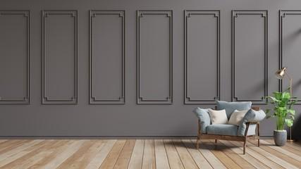Living Room interior with blue velvet armchair on dark brown wall.3d rendering Fototapete