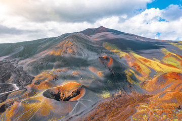 View of the active volcano Etna, extinct craters on the slope, traces of volcanic activity. Wall mural