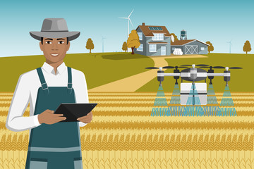 Fototapete - Black african american farmer with tablet control drone-sprayer. Digital transformation in agriculture and smart farming.