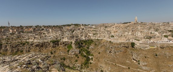 Panoramic view of the ancient town of Matera at Basilicata region in southern Italy