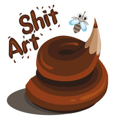 Fun image. Shit art. Isolated image on white background. Vector Art. Standard picture for a t-shirt.