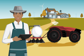Etiqueta Engomada - Black african american farmer with a tablet computer controls a autonomous tractor on a smart farm. Vector illustration EPS 10