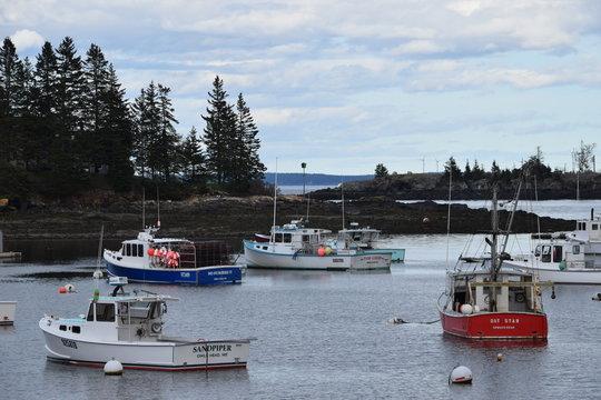 Lobster Boat Harbor on penobscot bay in Maine