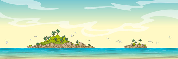 Wall Mural - Panorama landscape with two islands. Hand drawn vector illustration with separate layers.
