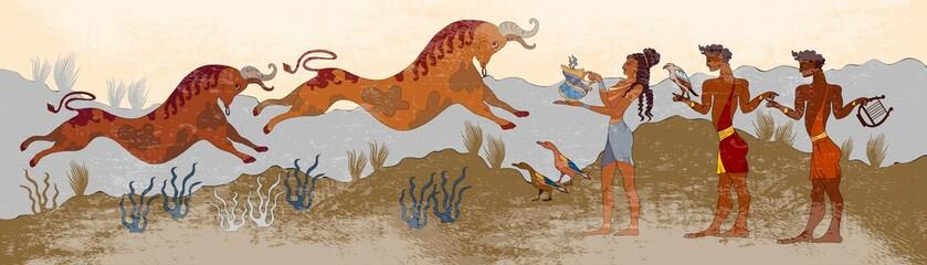 Minoan civilization. Ancient Greece frescos. Jumping bulls and p