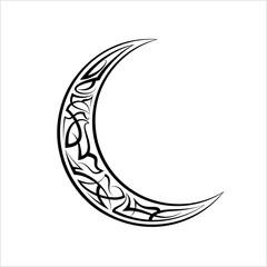 Pinstripe Crescent Moon Design, Vinyl Ready