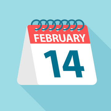 February 14 - Calendar Icon. Vector illustration of one day of month. Calendar Template
