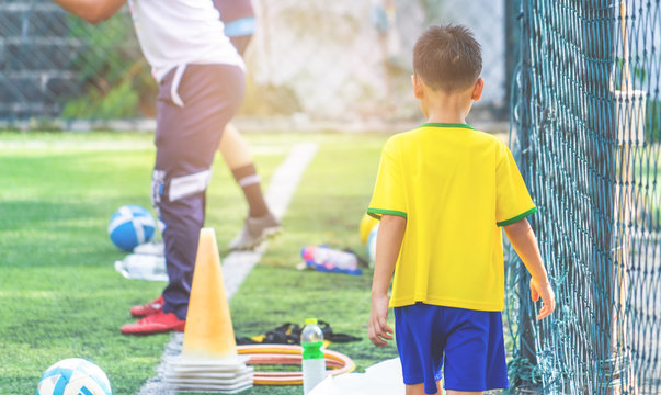 Soccer Academy field for children training blurred for background