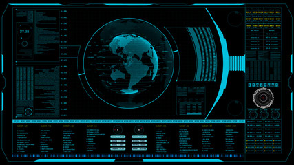 HUD The world digital data cyber technology background. digital background abstract dark blue animation of futuristic.