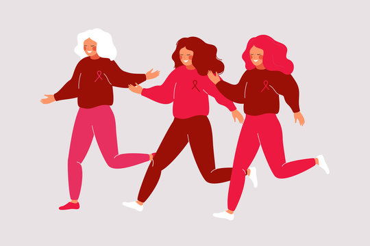 Cartoon young women running in a pink dress with ribbons. Charity race runs and fitness walks raises awareness for the breast cancer movement