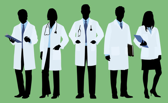 Male and female Doctors Wearing Lab Coat