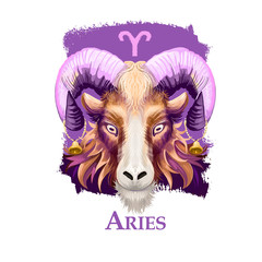 Creative digital illustration of astrological sign Aries. First of twelve signs in zodiac. Horoscope fire element. Logo sign with ram horns. Graphic design clip art for web and print. Add any text.