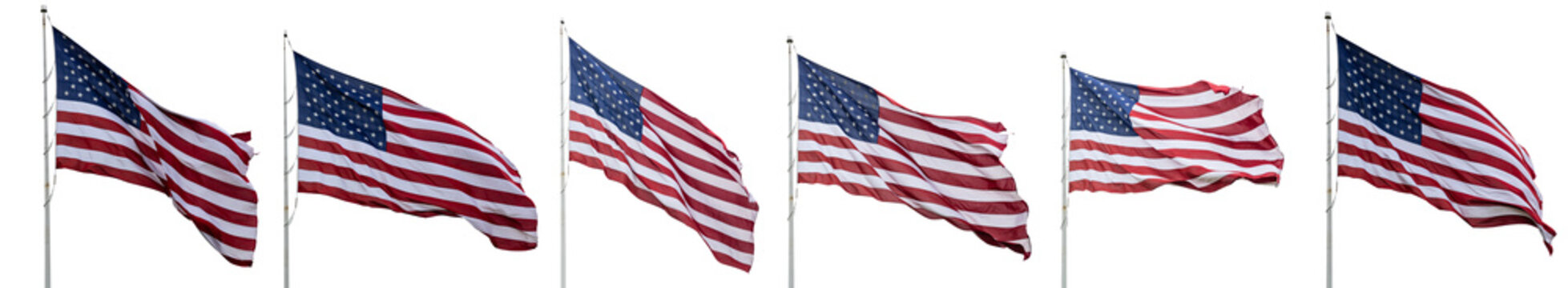 United States flags waving isolated on white background, collage, banner.