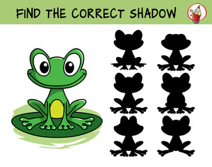 Funny green frog sitting on the leaf. Find the correct shadow. Educational matching game for children. Cartoon vector illustration