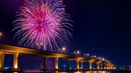 Photo taken overlooking the Roosevelt bridge on 4th of July in Stuart, Florida