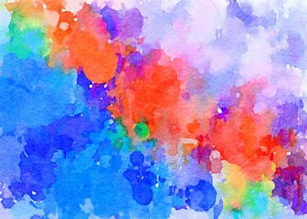 drop down color trickle  paint-like illustration abstract background with watercolor texture