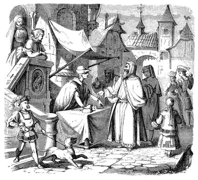 Medieval city scene, a jude merchant traveler at the money exchange stall