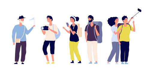 Tourists and tour guide. Young couples family, tourists travelling with camera taking photo in excursion. Summer vacation vector set. Tourist woman and man couple, travelling with guide illustration - fototapety na wymiar