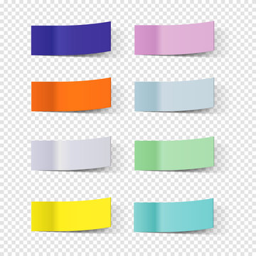 Sticky note papers, paper bookmarks vector set. Illustration of sticky paper for note and message