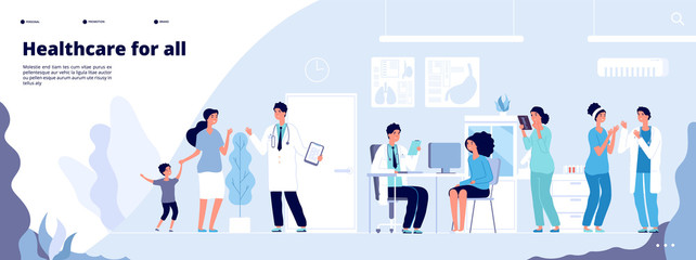 Medical landing page. Online clinical consult with diverse doctors. Healthcare vector concept. Medical doctor, clinic consultation webpage, medicine hospital illustration