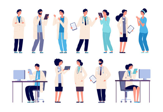 Doctor characters. Medical hospital staff people. Doctor nurse surgeon pharmacist dentist in medic uniform, flat vector set. Illustration of surgeon and pharmacist, medic professional and intern