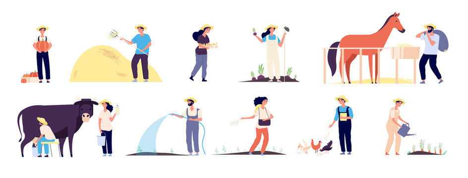Farmer people. Agricultural workers plant and harvest vegetables, water garden and feed farm animals vector isolated flat characters on white background