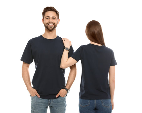 Young people in t-shirts on white background. Mock up for design