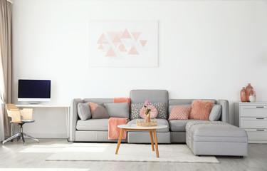 Modern living room interior with comfortable sofa Fototapete