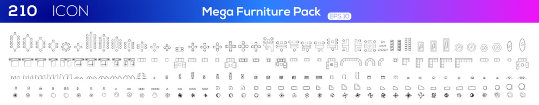 Furniture icon set .Vector illustration.