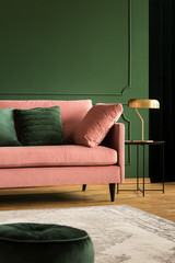 Pink velvet sofa in glamour living room