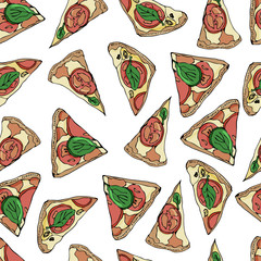 Seamless pattern with slices of  pizza on white background. Hand drawn ink  and colored sketch. Perfect for leaflets, cards, posters, prints, menu, booklets.